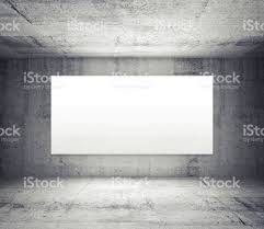 interior concrete walls empty room with concrete walls and illuminated wide white screen