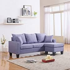 Modern Fabric Furniture by Amazon Com Modern Linen Fabric Small Space Sectional Sofa With