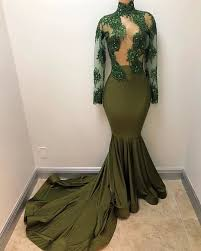 olive green spandex prom dress floral illusion lace high neck