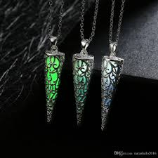 glow in the necklaces wholesale unique glowing statement necklaces pendants cone silver