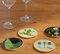 botanical drink coasters mixed set of 4 pottery barn