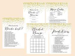 gold confetti bridal shower game set magical printable