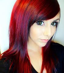 brown hair dye over red hair and model