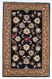 beautiful traditional hand tufted 5x8 area rug black brown blue