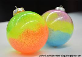 neon swirl glitter ornaments ilovetocreate