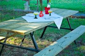 How To Make Picnic Bench How To Build An Extra Large Diy Picnic Table Curbly