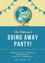 going away party invitations blue globe going away party invitation portrait templates by canva