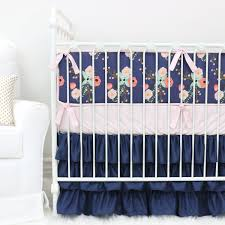 Navy Crib Bedding Berkeley U0027s Navy U0026 Blush Floral Ruffle Crib Bedding Caden Lane