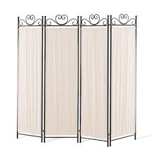 Room Devider by 4 Panel Elegant Room Divider Screen Ivory Fabric Metal Frame