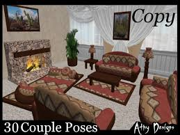 second life marketplace western rust living room set western