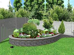 home decor two layer small fronn yard garden with stone fence to