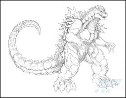 a detailed sketch of almighty godzilla coloring page fantasy