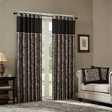 Curtain Pair Park Jacquard Panel Curtain Pair Black 50 X 108
