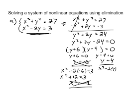 110 solving systems of non linear equations using elimination