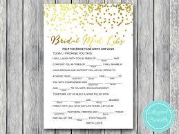 bridal mad libs bridal mad libs help write vows gold confetti
