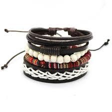multi leather bracelet images 1 set 4pcs leather bracelet multi layer bead retro punk casual jpg