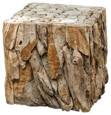 Rustic Accent Table Driftwood Bunching Cube Table Rustic Side Tables And End