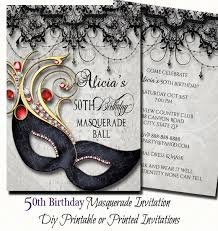 50th birthday masquerade party invitation shell fall in love with