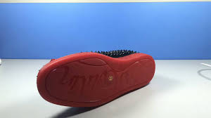 christian louboutin roller boat spikes leather black red low