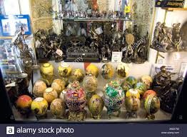 painted ostrich eggs in the tourist shop at the imperial