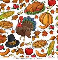seamless pattern colorful thanksgiving icons colorful stock vector