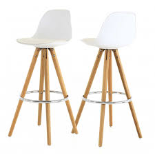 chaise haute de bar blanche trépied en bois style scandinave