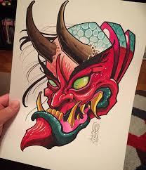 hannya mask samurai tattoo david tevenal concept pinterest tattoo school and tattoo designs