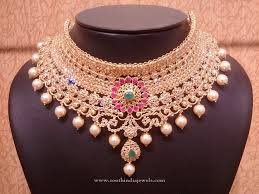 necklace choker design images Gold uncut diamond bridal choker necklace south india jewels jpg