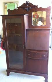 antique oak secretary bookcase w beveled mirror 3 gif