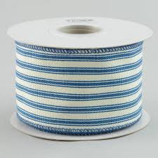 blue and white striped ribbon 2 5 ticking stripe ribbon blue white 10 yards ra1222w1