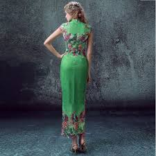 high slit green embroidery oriental dresses short sleeve lace