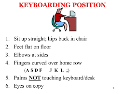 5 Position Floor Chair 1 Keyboarding Position 1 Sit Up Straight Hips Back In Chair 2