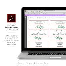 eucalyptus wedding invitation templates printable stationery