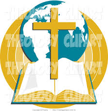 clip art of a open holy bible with a globe and gold cross by