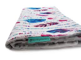 light minky blanket feathers minkymonkey