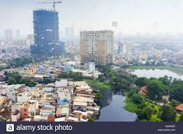 The Economic View From The Colorful Slum Houses At Ho Chi Minh City View From Top Vietnam