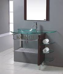contemporary vessel sink vanity modern bathroom glass bowl clear vessel sink wood vanity w shelfs