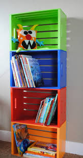wooden childrens bookcase crate bookshelves for kids room painted