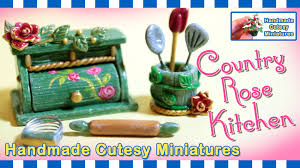 country rose kitchen bread box dollhouse miniature polymer