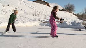 Backyard Hockey Download Four Young Kids Play Hockey On Backyard Ice Rink Stock Footage