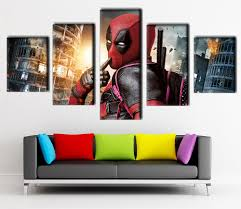 movie home decor 5 panel canvas printed deadpool movie poster home decor pictures