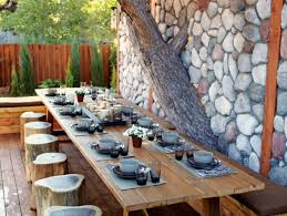 table backyard patios ideas with padded seating rectangle table