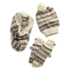 reversible hat gloves and scarf set in winter white