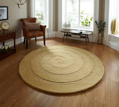 Modern Circular Rugs Spiral Gold Circle Rug Contemporary Luxury Wool Circular Rugs