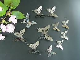 Set11 3 Silver Butterfly Mirror Wall Decor Metal 3D butterfly Wall