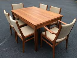 Mid Century Modern Dining Table Mid Century Modern Teak Expanable Dining Table With Six Teak