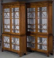 pair of glass door bookcases