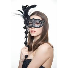 silver mask masquerade mask with covered handle black silver