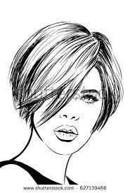 drawing of bob hair girl beautiful eyes bun hairstyle stock vector 579762832