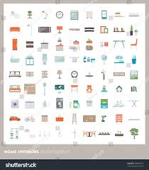 Home Design Elements Home Room Interiors Design Elements Icons Stock Vector 488858152